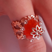 Elegant Queenly Autumn Carnelian Ring