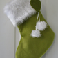 Lime Velvet Christmas Stocking