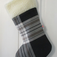 1 Wool Blended Grey Tartan christmas stocking
