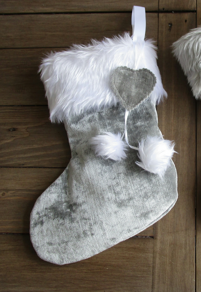 Silver Grey Velvet Christmas Stocking