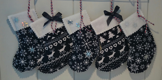 Navy Blue Reindeer Mini Stockings