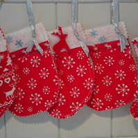 Mini Snowflake and Reindeer Christmas Stockings