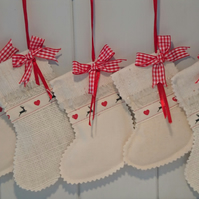 Mini Heart and Reindeer Christmas Stockings