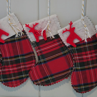 Mini Tartan Christmas Stockings