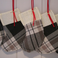 Grey Tartan Mini Christmas Stocking