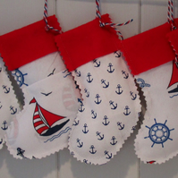 Nautical Mini Christmas Stockings-FREE UK POSTAGE ON THIS ITEM