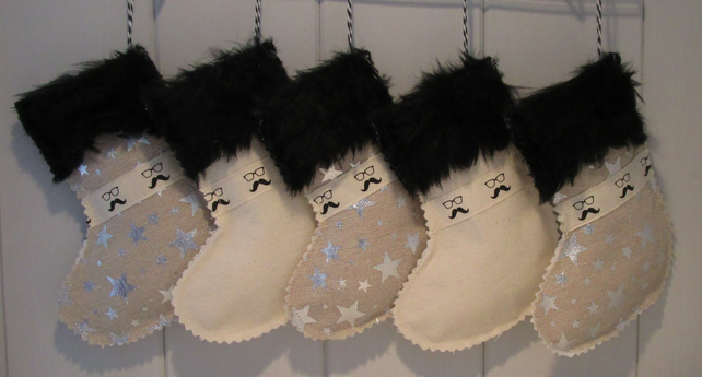 Mini Moustache and Glasses Christmas Stocking...25% off and free P&P