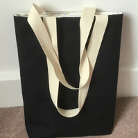 Boxed bottom black tote bag