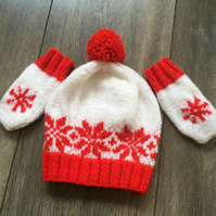 Hand Knitted Christmas Baby Hat and Matching Mitts - 6-12 months