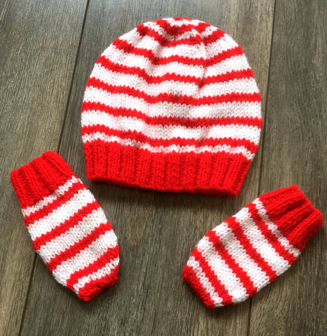 e9d179a011e50 Neutral Gender Red And White Striped Beanie Hat... - Folksy
