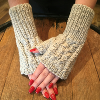 Hand Knitted Aran Wool Fingerless Mittens