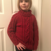Hand Knitted Girls' Chunky Yarn Jumper - Age 7 - 8 years