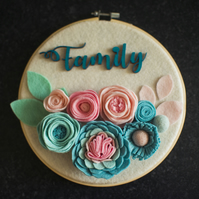 Embroidery hoop with felt flowers