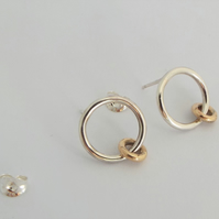 Musical Gold and Silver Earrings - Stud earrings - 9ct Gold - Silver
