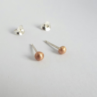 Molten Droplet Stud Earrings - Rose Gold - Sterling Silver
