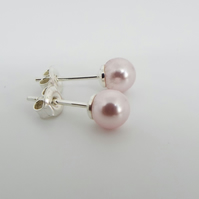 Pink Swarovski Pearl Earrings - Sterling silver Stud Earrings