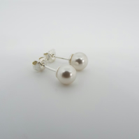 White Swarovski Pearl Earrings - Silver Stud Earrings