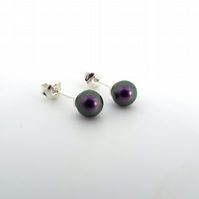 Purple Swarovski Pearl Earrings - Sterling Silver