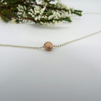Rose gold and Silver necklace - 9ct  Rose Gold pendant - Sterling silver chain
