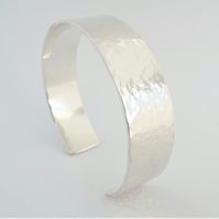 Hammered Silver Cuff Bracelet - Sterling Silver - Personalised - Hallmarked