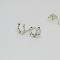 Horseshoe Earrings - Sterling silver handmade stud earrings