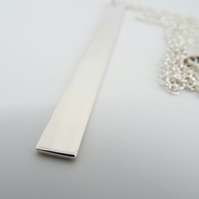 Oversize Silver Bar Pendant  & Chain - Handmade from Sterling silver