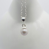 Gray Swarovski Pearl Necklace - Handmade with Sterling Silver
