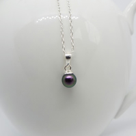 Purple Swarovski Pearl Necklace - Handmade with Sterling Silver