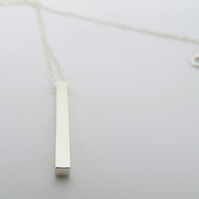 Silver Bar Necklace- Pendulum Necklace Handmade from Sterling Silver