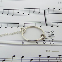 Silver Circle necklace with Musical Charm - Handmade from Sterling silver