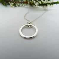 Silver Circle Pendant Necklace - Handmade from Sterling Silver