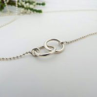 Entwined Silver Circle Necklace - Sterling Silver Necklace