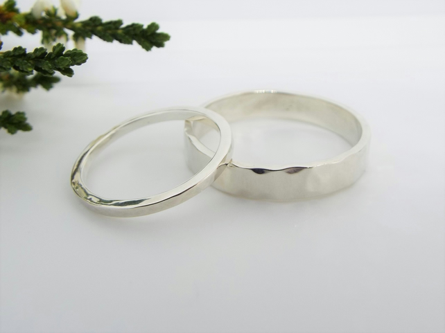 His and hers Hammered Wedding Rings - Promise Rings in Sterling Silver