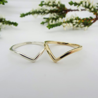 9ct Gold Chevron Ring - Handmade Geometric Ring