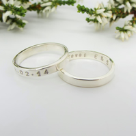 His and Her Rings - Personalised and Handmade from Sterling Silver