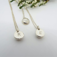 Initial Silver Necklace - Personalised and Handmade Recycled Sterling Silver