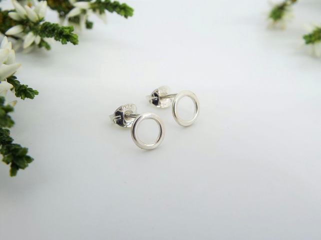 Circle Stud Earrings - Handmade from Sterling silver