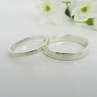 His and hers Hammered Rings - Promise Rings in Sterling Silver