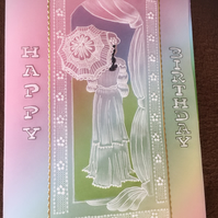 Victorian Lady Birthday Card