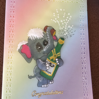 Champagne and Elephant Congratulations Card