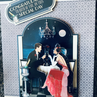 3d decoupage Art Deco Card For Anniversary