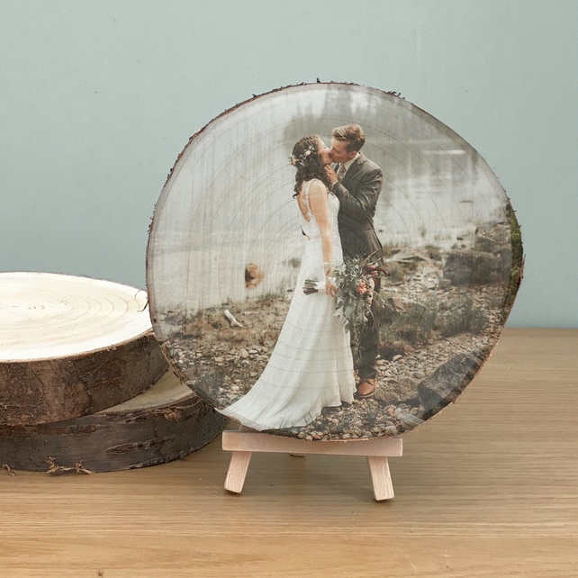 5th Wedding Anniversary Gift - Wood Slice Personalised Photo Plaque