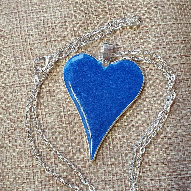 Electric Blue Resin Heart Pendant
