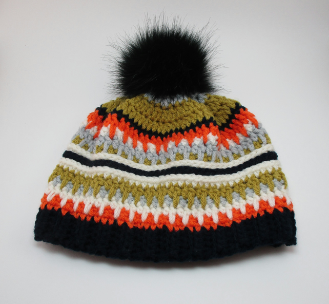 Ladies fair isle effect crochet bobble hat