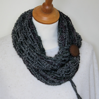 Handmade infinity scarf with vintage button tie detail