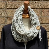 Handmade infinity scarf with wooden button tie detail
