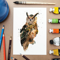 Owl Illustration -- Wildlife Art Prints -- Watercolor Painting Art Print