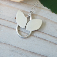 Angel Bee Teardrop Sterling Silver Pendant Necklace - Contemporary Design