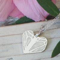 Fluttering Heart Butterfly Inspired Sterling Silver Delicate Necklace Irregular