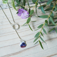 Mountains and Vortex Lariat Chain Necklace Silver and Enamel